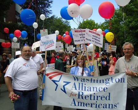 Mike Warren, left, President of WA St Alliance for Retire Americnas